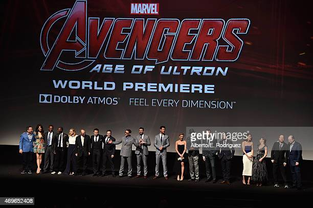 'Avengers Age Of Ultron' cast and producers pose onstage during the world premiere of Marvel's 'Avengers Age Of Ultron' at the Dolby Theatre on April...
