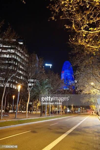 Avenida Diagonal at Night, Torre Agbar, Barcelona, Spain