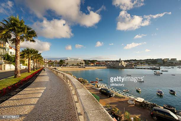 avenida dom carlos i in the center of cascais - cascais stock photos and pictures