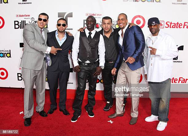 Aventura and Akon arrive at the 2009 Billboard Latin Music Awards at Bank United Center on April 23 2009 in Miami