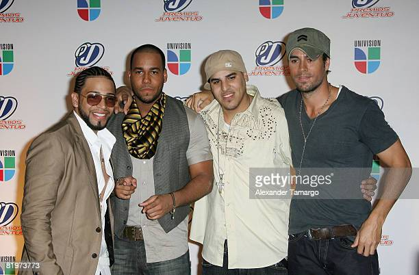 Aventura and Enrique Iglesias poses in the press room at the Premio Juventud Awards at Bank United Center on July 17 2008 in Miami Florida