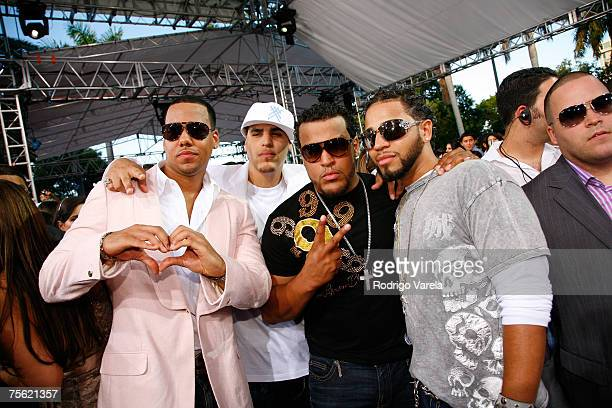 Aventura arrives at the Bank United Center for the Premios Juventud Awards on July 19 2007 in Coral Gables Florida