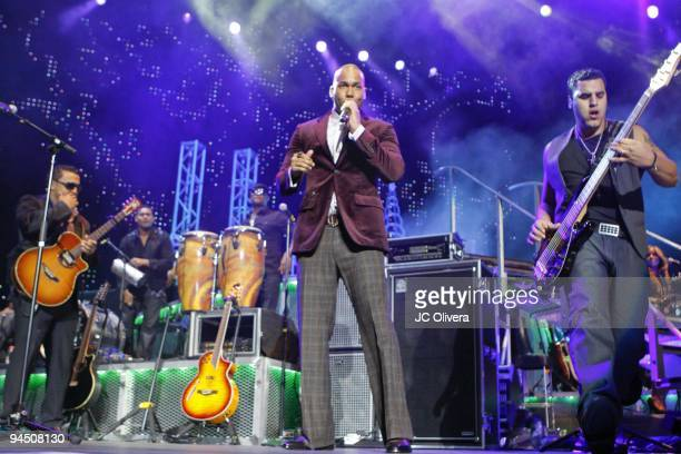 Aventura perform on stage at the Staples Center on December 15 2009 in Los Angeles California