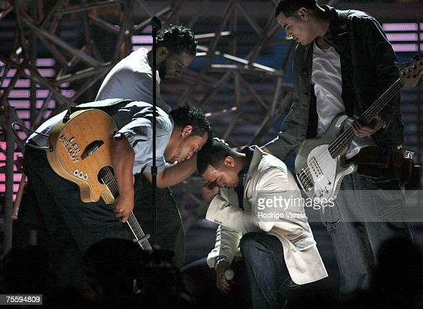 Aventura performs live at the Premios Juventud Awards at the University of Miami BankUnited Center on July 19 2007 in Miami Florida