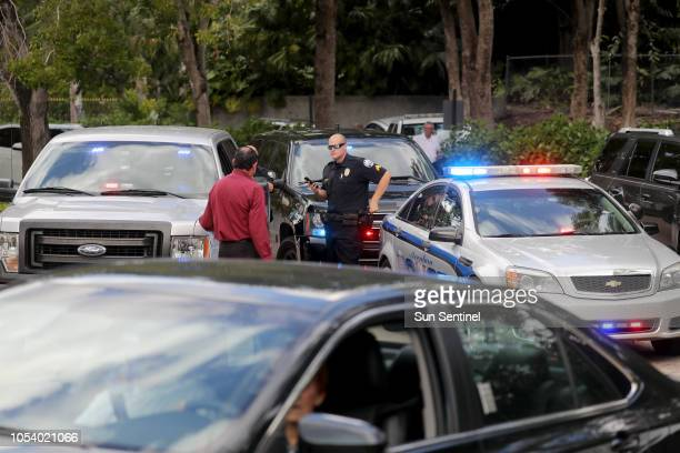 Aventura police in front of the building in Aventura Calif Friday Oct 26 where the bombing suspect Cesar Sayoc's mother lives