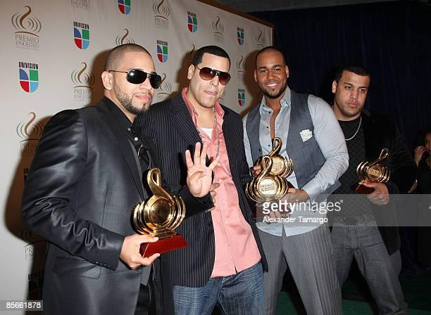 Aventura pose in the press room at Univision's Premio Lo Nuestro a La Musica Latina Awards at Bank United Center on March 26 2009 in Coral Gables...
