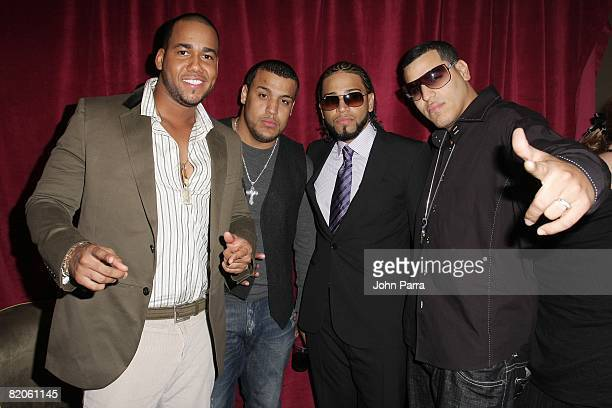 Aventura poses backstage at Univision and the Latin Recording Academy Honor Jose Jose at Bank United Center on July 24 2008 in Miami Florida