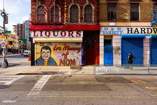 avenue b in east village new york - east village stock pictures, royalty-free photos & images