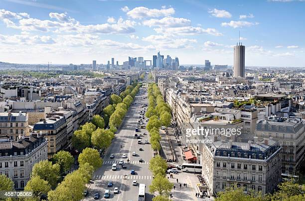 avenue de la grande armée in paris - place charles de gaulle paris stock photos and pictures