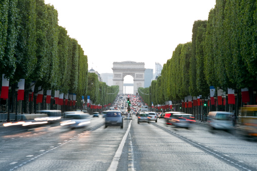 Avenue des Champs-Elysees and Arc de Triomphe, Paris, France 183303749
