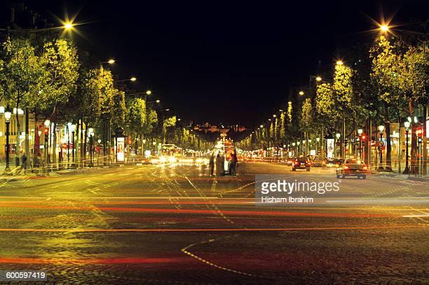 Avenue des Champs-Elysees, night, Paris, France