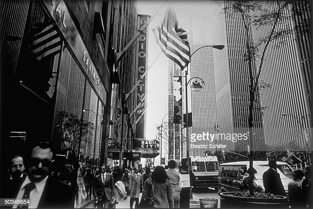 Avenue of Americas street scene embracing Radio City Music Hall
