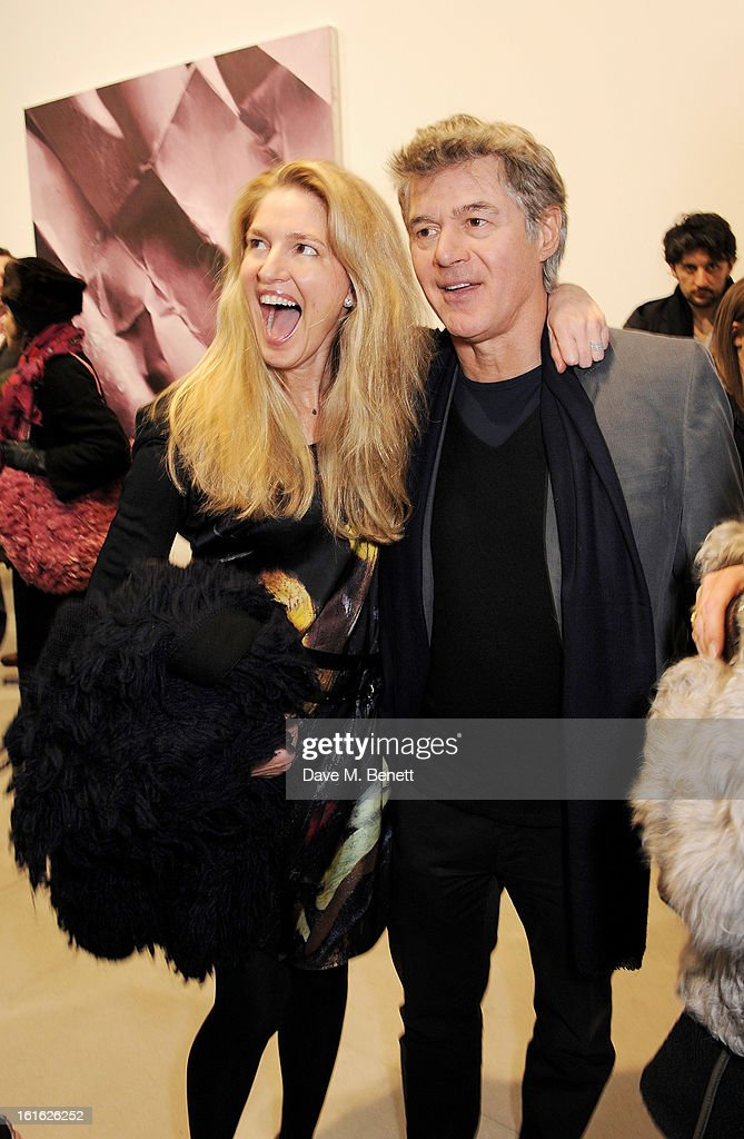 Avery Agnelli (L) and John Frieda attend a private view of 'Mat Collishaw: This Is Not An Exit' at Blaine/Southern Gallery on February 13, 2013 in London, England.