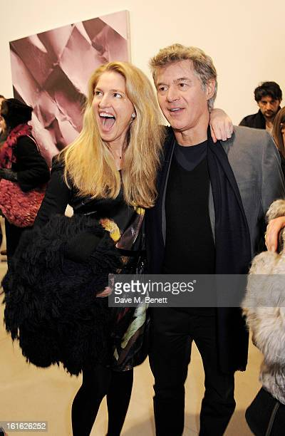 Avery Agnelli and John Frieda attend a private view of 'Mat Collishaw This Is Not An Exit' at Blaine/Southern Gallery on February 13 2013 in London...