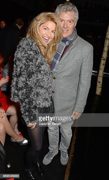 Avery Agnelli and John Frieda attend the Hunter Original AW 2014 Show at Ambika P3 Gallery University of Westminster on February 15 2014 in London...
