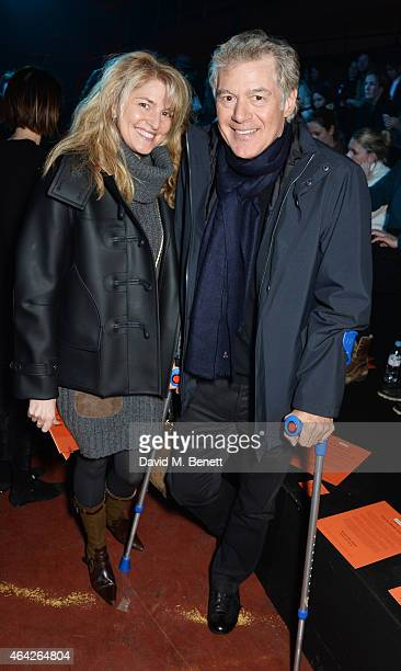 Avery Agnelli and John Frieda attend the Hunter Original AW15 catwalk show during London Fashion Week Autumn/Winter 2015/16 on February 23 2015 in...
