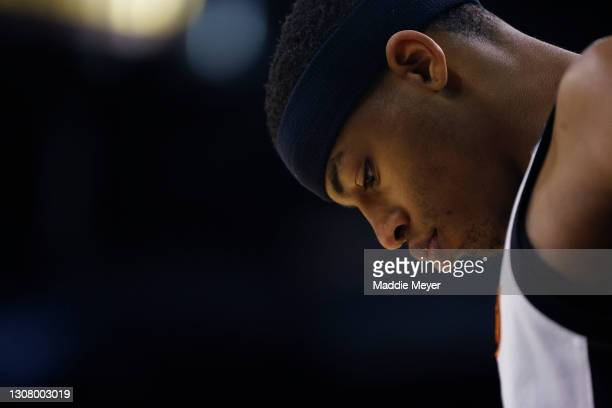 Avery Anderson III of the Oklahoma State Cowboys looks on against the Liberty Flames during the first half in the first round game of the 2021 NCAA...