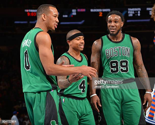 Avery Bradley Isaiah Thomas and Jae Crowder of the Boston Celtics talk things over against the New York Knicks at Madison Square Garden on January 12...