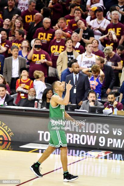 Avery Bradley of the Boston Celtics celebrates after shooting the winning basket in their 111 to 108 win over the Cleveland Cavaliers during Game...