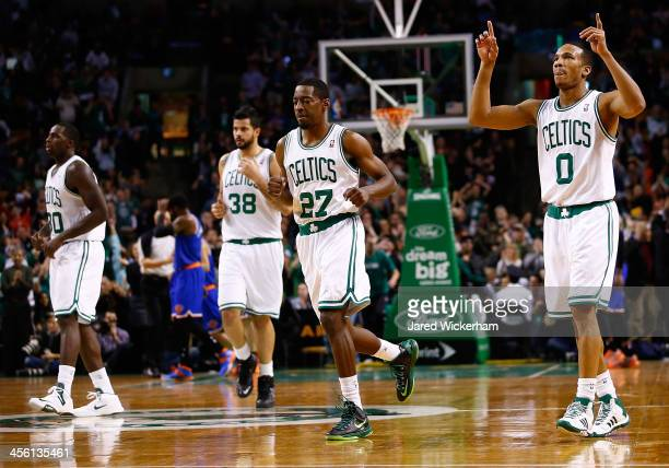 Avery Bradley of the Boston Celtics celebrates following a threepoint shot in the fourth quarter against the New York Knicks during the game at TD...