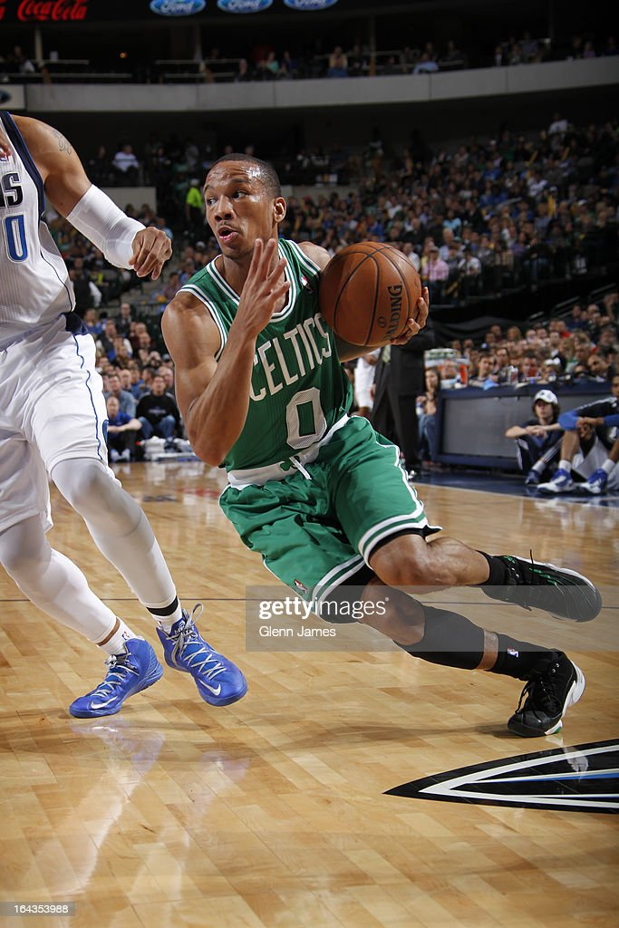 Avery Bradley #0 of the Boston Celtics drives against the Dallas Mavericks on March 22, 2013 at the American Airlines Center in Dallas, Texas.