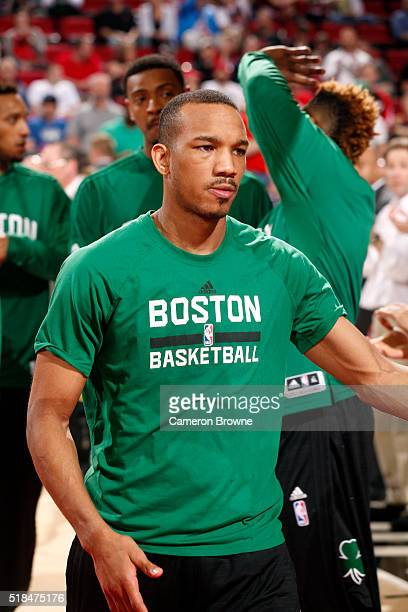 Avery Bradley of the Boston Celtics gets introduced before the game against the Portland Trail Blazers on March 31 2016 at the Moda Center in...