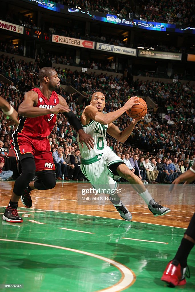 Avery Bradley #0 of the Boston Celtics glides to the rim against the Miami Heat during a game on March 18, 2013 at TD Garden in Boston, Massachusetts.