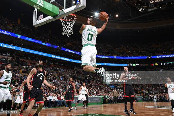Avery Bradley of the Boston Celtics goes to the basket against the Toronto Raptors on March 23 2016 at the TD Garden in Boston Massachusetts NOTE TO...