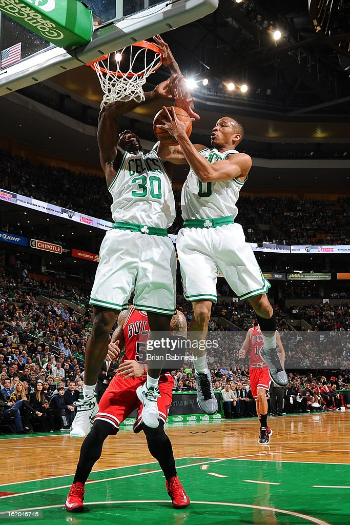 Avery Bradley #0 of the Boston Celtics grabs the rebound against the Chicago Bulls on February 13, 2013 at the TD Garden in Boston, Massachusetts.