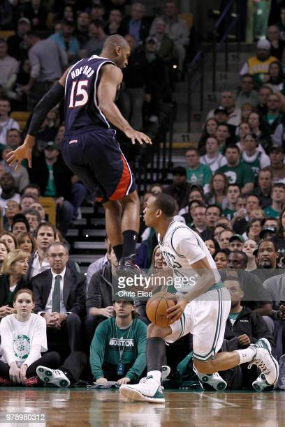 Avery Bradley of the Boston Celtics handles the ball against Al Horford of the Atlanta Hawks in Game Six of the Eastern Conference Quarterfinals...