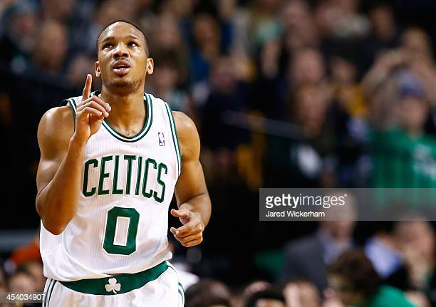 Avery Bradley of the Boston Celtics reacts following a three point shot in the second half against the Denver Nuggets during the game at TD Garden on...
