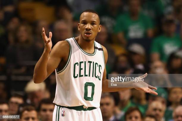 Avery Bradley of the Boston Celtics reacts in the second half against the Cleveland Cavaliers during Game Five of the 2017 NBA Eastern Conference...