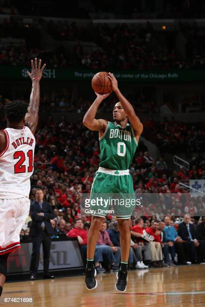 Avery Bradley of the Boston Celtics shoots the ball against the Chicago Bulls in Game Six of the Eastern Conference Quartefinals of the 2017 NBA...