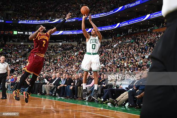 Avery Bradley of the Boston Celtics shoots the ball against the Cleveland Cavaliers during the game on November 14 2014 at the TD Garden in Boston...
