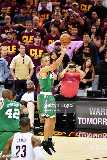 Avery Bradley of the Boston Celtics shoots the winning basket in their 111 to 108 win over the Cleveland Cavaliers during Game Three of the 2017 NBA...