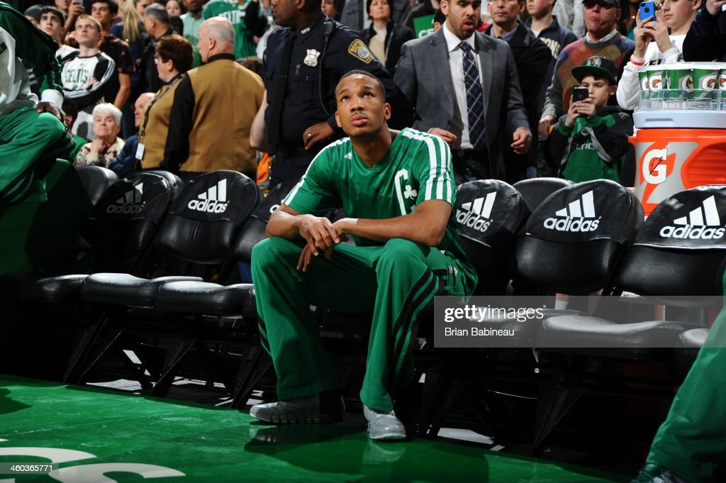 Avery Bradley #0 of the Boston Celtics waits to be introduced before the game against the Cleveland Cavaliers on November 29, 2013 at the TD Garden in Boston, Massachusetts.