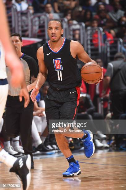 Avery Bradley of the LA Clippers handles the ball against the Dallas Mavericks on February 5 2018 at STAPLES Center in Los Angeles California NOTE TO...