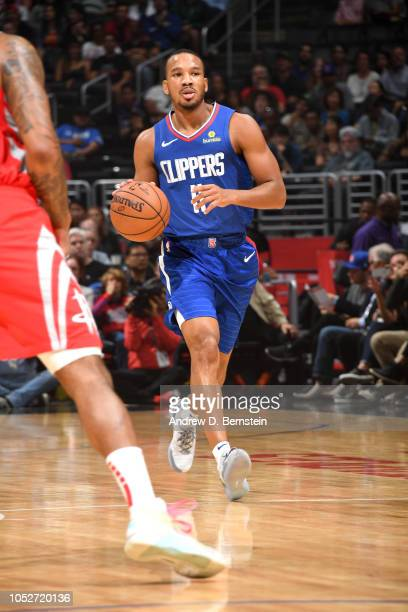 Avery Bradley of the LA Clippers handles the ball against the Houston Rockets on October 21 2018 at Staples Center in Los Angeles California NOTE TO...