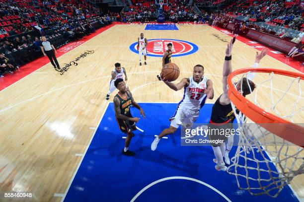 Avery Bradley of the Detroit Pistons goes to the basket against the Atlanta Hawks on October 6 2017 at Little Caesars Arena in Detroit Michigan NOTE...
