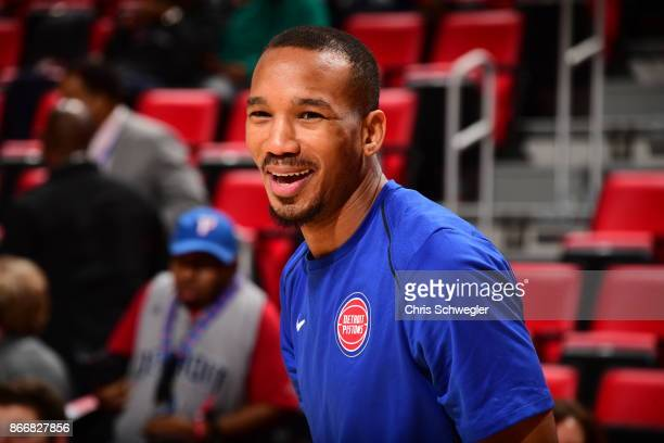 Avery Bradley of the Detroit Pistons reacts before the game against the Minnesota Timberwolves on October 25 2017 at Little Caesars Arena in Detroit...