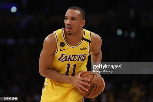 Avery Bradley of the Los Angeles Lakers looks to pass the ball in a game against the New Orleans Pelicans during the second half at Staples Center on...