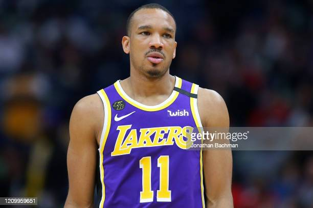 Avery Bradley of the Los Angeles Lakers reacts against the New Orleans Pelicans during the second half at the Smoothie King Center on March 01 2020...
