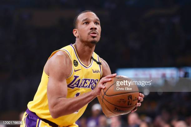 Avery Bradley of the Los Angeles Lakers shoots a foul shot against the Phoenix Suns at the Staples Center on February 10, 2020 in Los Angeles, CA....