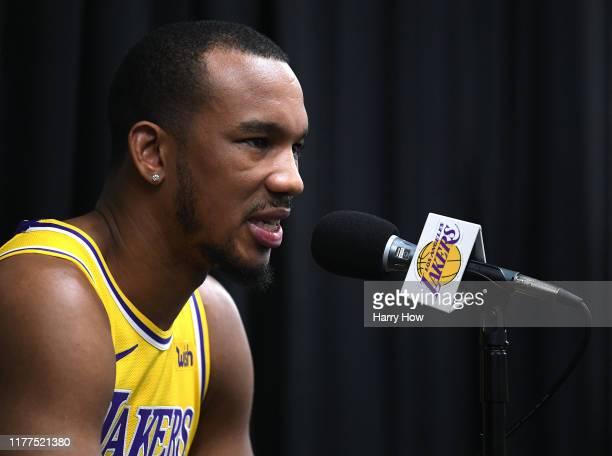 Avery Bradley of the Los Angeles Lakers speaks to the press during Los Angeles Lakers media day at UCLA Health Training Center on September 27, 2019...