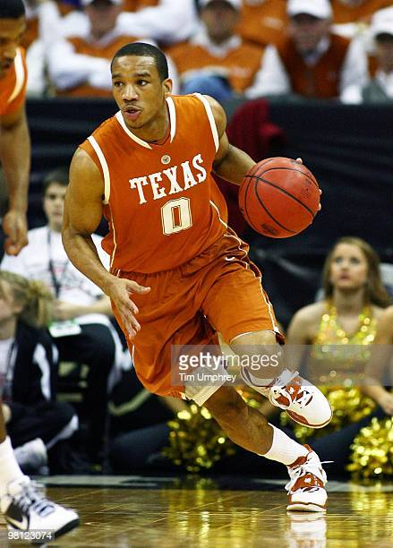 Avery Bradley of the Texas Longhorns brings the ball up the court against the Baylor Bears during the quarterfinals of the 2010 Phillips 66 Big 12...