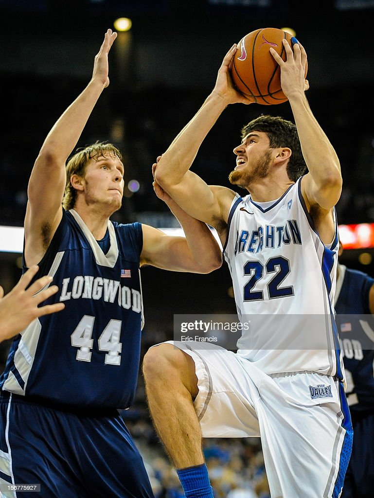 Avery Dingman #22 of the Creighton Bluejays drives to the hoop over Jeff Havenstein #44 of the Longwood Lancers during their game at CenturyLink Center on November 20, 2012 in Omaha, Nebraska.