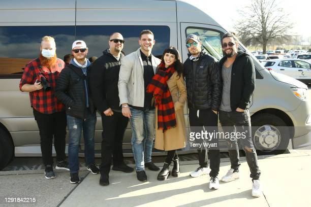 Avery Grasse, Austin Evans, Abdul Alaa, Colin Wayne, Shenae Grimes, Zack Teperman and David Osborne attend the Redline Steel Holiday Give-Back at...