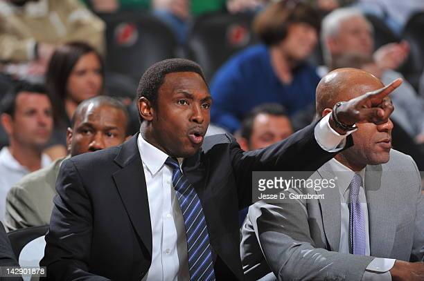 Avery Johnson Head Coach of the New Jersey Nets gives his team direction during the game against the Boston Celtics on April 14 2012 at the...