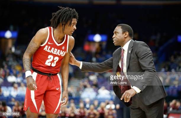 Avery Johnson the head coach of the Alabama Crimson Tide gives instructions to John Petty against the Texas AM Aggies during the second round of the...