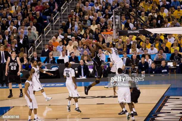 Avery Jukes of Butler puts the ball up past Delvon Roe of Michigan State during the semifinal game of the 2010 NCAA Photos via Getty Images Final...